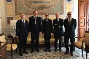 SdS Renzi e da sx Amb. UE Jan Tombinski e Claude Maerten